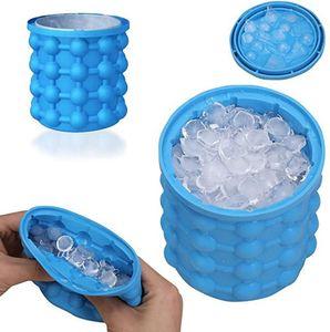 Ice Genie Ice Cube Maker, Eiswürfelformen Silikon mit deckel, 2 in1 Funktion Eiseimer mit Deckel,Saving Ice Cube Maker für Bier Cocktails Whisky(1 Stück)