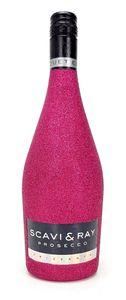 Scavi & Ray Prosecco Frizzante 0,75l (10,5% Vol) - Bling Bling Glitzer Glitzerflasche Flaschenveredelung für besondere Anlässe - Hot Pink -[Enthält Sulfite]