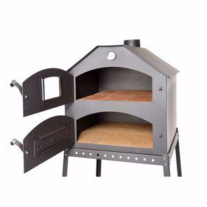 acerto® - Profi Pizzaofen für den Garten - 64x63x68 cm * Schamott-Stein * Thermometer * Drosselklappe | Pizza-Backofen mit Doppelkammer | Flammkuchen-Ofen mit Gestell | Outdoor Brotbackofen mit Luftregulierung