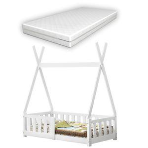 [en.casa] Kinderbett mit Matratze 70x140cm Weiß mit Rausfallschutz im Tipi Design aus Kiefernholz Jugendbett Bett Holzbett Hausbett