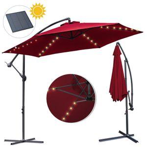 Wolketon 3m-3.5m Sonnenschirm mit LED Solar Neigbar Ampelschirm Balkonschirm Marktschirm UV40+ Gartenschirm,Rot,3.5m