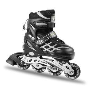 Inliner Skate Soft-Boot Kinder Jugend Größenverstellung verstellbar unisex türkis Schwarz , Größe:38-41(Schwarz ,L)