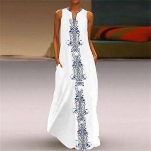 Mode Damen Retro-Druck V-Ausschnitt Kurzarm bequemes Freizeitkleid Größe:XL,Farbe:Weiß