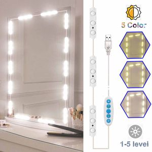 LED-Kosmetikspiegelleuchten, Weiß & RGB Buntes, dimmbares Eitelkeits-Make-up-Licht im Hollywood-Stil, einstellbare Farbe und Helligkeit Ultraheller Lichtstreifen für Make-up-Kosmetiktisch / Spiegel / Nachbildung