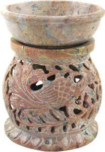Indische Duftlampe, ätherisches Öl Diffusor, Teelicht Halter für Aromatherapie, Aromalampe aus Speckstein - Rund Pfau, Creme-weiß, 11*9*9 cm, Duftlampen & Öllampen
