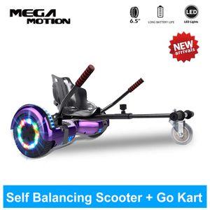 Hoverboard mit sitz hoverkart GO-Kart,  6,5 Zoll ,Bluetooth Hover Board 700W Motor mit LED-Blitzrädern,Elektroscooter für Erwachsene,Elektro Skateboard Self Balance Scooter