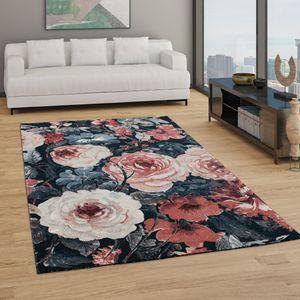 Teppich Wohnzimmer Kurzflor Boho Design Modernes Florales Muster Grau Rosa Rot, Grösse:120x170 cm