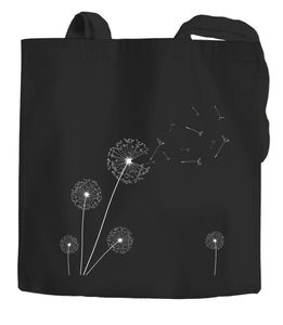 Jutebeutel Pusteblume Dandelion Baumwolltasche Stoffbeutel Einkaufstasche Autiga® schwarz 2 lange Henkel