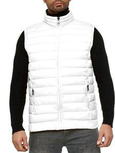 Herren Steppweste Ärmellose Jacke Outdoor Weste H2503, Farben:Weiß, Größe Jacken:L