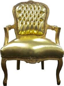 Barock Salon Stuhl Gold / Gold Lederoptik