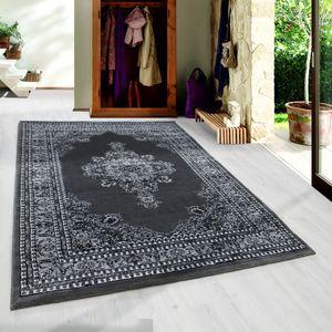 Klassik Wohnzimmerteppich Orient Teppich Edle Bordüre Ornament Schwarz Grau, Grösse:240x340 cm