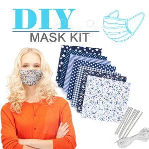 Miixia 7 Stoffreste Patchwork Baumwolle Paket Stoffe + 6M Gummiband + 10 Nasenbügel Maske DIY Set