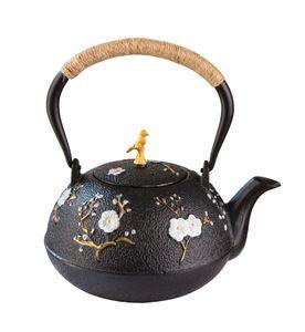 Gusseisen Teekanne 1L im Asia-Stil - handbemalt im japanisch-chinesischen Look lose Tee-Zubereitung