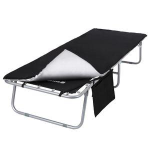 SONGMICS Campingbett mit Seitentasche, Feldbett mit Matratze, max. statische Belastbarkeit 260 kg, 200 x 74 x 39 cm, schwarz GCB20H