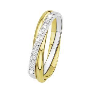 Zweifarbiger Ring 585 Gold mit Diamant -  60