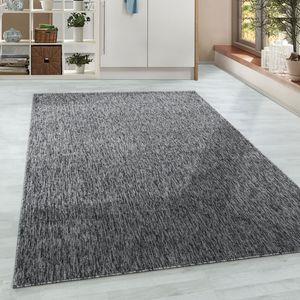 Kurzflor Wohnzimmer Teppich Einfarbig Flachgewebe Grau meliert glänzend , Farbe:Grau, Grösse:140x200 cm