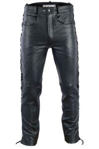 Herren Lederhose lederjeans bikerjeans jeans hose aus echtleder seitlich geschnürt, Größe:56/2XL, Farbe:Schwarz