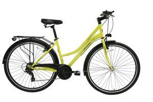 28 ZOLL Damen Mädchen City Trekking Fahrrad Rad Bike Damenrad Cityfahrrad Citybike Damenfahrrad Cityrad 7 Shimano Gang Beleuchtung SMILE GELB