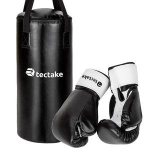 tectake Boxsack für Kinder inkl. Boxhandschuhe - schwarz