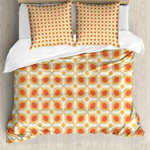 ABAKUHAUS Jahrgang Bettbezugs Set Für Doppelbetten, 70er Jahre Boho geometrische Symbol, Milbensicher Allergiker geeignet mit Kissenbezügen, Orangencreme