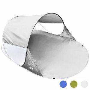 CON CRUISE Strandmuschel Pop-up Strand-Zelt, Blitzschnell & supereinfach, Selbstaufbauendes Wurfzelt 140 x 100 x 240 cm, Automatik Muschel mit UV-Sonnenschutz - Grau
