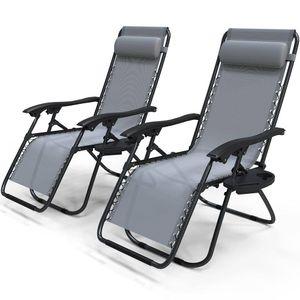 VOUNOT 2er-Set Liegestuhl Klappbar, Relaxstuhl Garten mit Getränkehalter und Kopfpolster, Grau