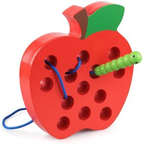 Holz Fädelspiel Apfel Motorikspielzeug Reise Spiel Montessori früh Lernen Feinmotorik Pädagogisches Geschenk
