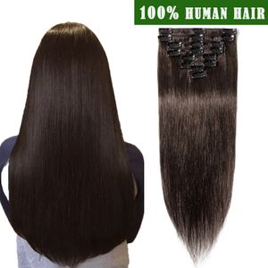 S-noilite Clip In Extensions Echthaar Haarverlängerung Haarteil hitzebeständig 100%  Hair Glatt Dunkelbraun 45 cm
