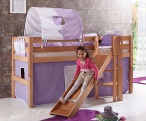 Hochbett ELIYAS Kinderbett mit Rutsche Spielbett Bett Natur Stoffset Lila/Weiß, Matratze:ohne