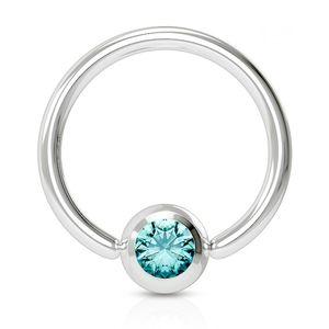 viva-adorno 1,2x8x3mm Universal Piercing Ring BCR Kristall Lippenring Klemmring Septumpiercing Brustpiercing Chirurgenstahl Z507,aqua