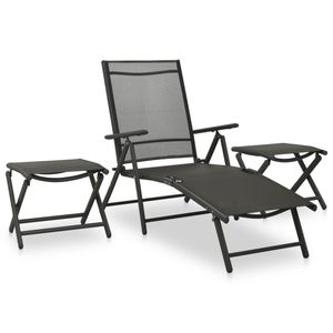 vidaXL 3-tlg. Garten-Lounge-Set Textilene und Aluminium Schwarz