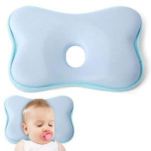 Orthopädisches Babykissen Gegen Plattkopf,Babykopfkissen Gegen Plattkopf,Baby Kissen Kopfverformung Plattkopf,Plattkopf Babykissen,Memory-Schaum-Kissen für Baby (Blau)