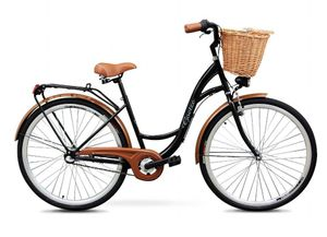 Goetze 26 Zoll Eco Fahrrad Damenfahrrad Herrenfahrrad Citybike Schwarz Weidenkorb