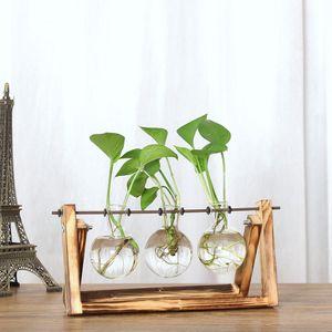 Glasvase Hängevase Glas Übertopf Vase Dekovase mit Holz Halter Größe 3 Becher