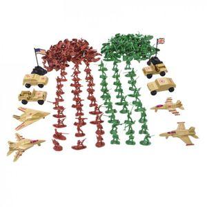 Mini Militär Figuren mit 200x Soldaten Spielzeug 4x Kampfflugzeug 4x Lastwagen 2x Flaggen und andere Accessoires