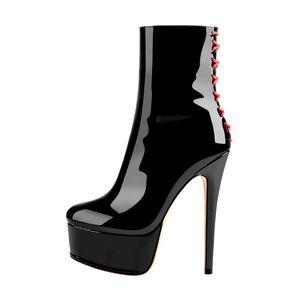 Only maker Damen Knöchel Stiefel Stiefeletten Reißverschluss Plateau Stiletto Absatz Ankle Boots Lack Schwarz 46 EU