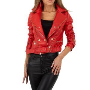 Ital-Design Damen Jacken Bikerjacken Rot Gr.l