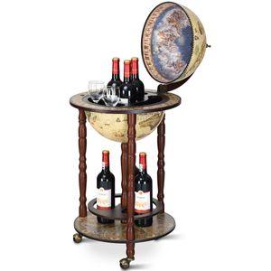 COSTWAY Globusbar Minibar Weltkugel Weinregal Flaschenregal Globus Bar Hausbar Cocktailbar Tischbar Dekobar mit Rollen