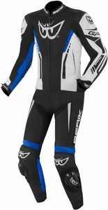 Berik Monza 2-Teiler Motorrad Lederkombi Farbe: Schwarz/Weiß/Neonblau, Grösse: 56