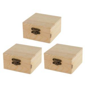 3pcs Quadratischen Form Holzkästchen mit Deckel Schatzkästchen Schatzkiste Schmuckschatulle