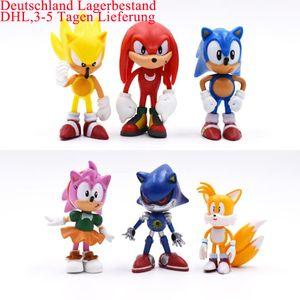 6Stk/Set 6cm Sonic World Adventure Metal Sonic Werehog Tails PVC Aktionsfiguren Schattenknöchel X Anime-Figuren Puppe Kinder Kinderspielzeug Set