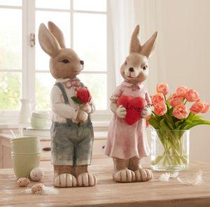 Häsin 'Herz' Tisch Figur dekorativer Blickfang stimmungsvolle Dekoration Ostern