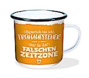 """Emaille-Becher """"Falsche Zeitzone"""" 300ml"""