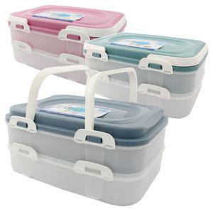 Party Container Kuchenbehälter Lebensmittel Transportbox XL mit 2 Etagen und klappbaren Griffen, Farbe:Grau