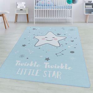 Spielteppich Kurzflor Teppich Kinderteppich Kinderzimmer Motiv Baby Stern Blau, Farbe:Blau, Grösse:160x230 cm