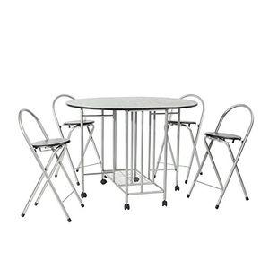 FURNITURER zusammenklappbarer Esstisch und 4 Stuehle, 5-teiliges Set fuer die Kueche, platzsparend, bewegliche Rollen, schwarz