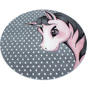 Kurzflor Kinderteppich Einhorn Baby Kinderzimmer Babyzimmer Teppich Grau Pink, Grösse:160 cm Rund