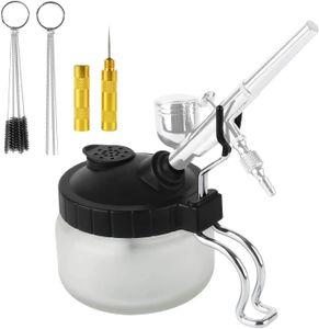 Professional Airbrush-Reinigungsset, inklusive Glas-Airbrush-Topfreinigung, 5-teiliges Nylonbürstenset, 5-teiliges Werkzeugset, Edelstahlnadel, Golddüsenwerkzeug