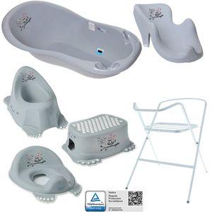 7-Set Babybadewanne mit Gestell - Neugeborenen Set - Babywanne + Ständer + Babybadesitz + abflussschlauch + Nuk Thermomether + Toilettentrainer + Hocker + Töpfchen