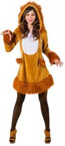O9167-42-44 braun Damen Sexy Löwen Kleid Kostüm mit Mähne Löwe Gr.42-44